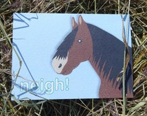 Horse card - horse lover gift - farm animals - farming gift - greeting card - horse illustration - luckjudgementgifts - pony