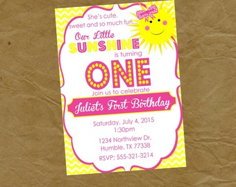 You Are My SUNSHINE Birthday Party Invitation - Digital or Printed