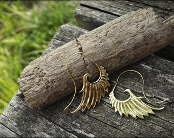 Angel wings. Earrings-bronze. Brass earrings ethnic style. Tribal jewelry.