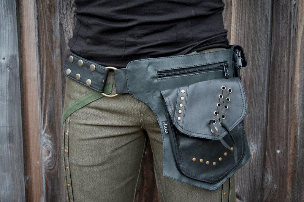 leather biker belt utility belt pocket belt hip belt hip