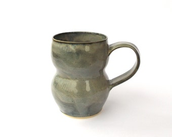Ceramic Mug, Hand Made Ceramic Pottery Cup in Grey, Curved Pottery Mug with Grey Glaze, Ceramic Coffee Cup, Ready to Ship