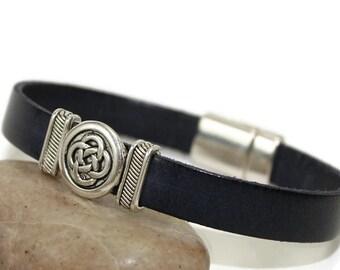Navy flat leather celtic bracelet men bracelet leather bracelet leather jewelry navy blue bracelet magnetic clasp FLB10-44-03