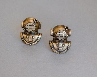Diving Helmet Cufflinks Men's Cufflinks Diver Nautical Cufflinks Steampunk Cufflinks Antique Brass Gifts for Him Father's Day Gifts