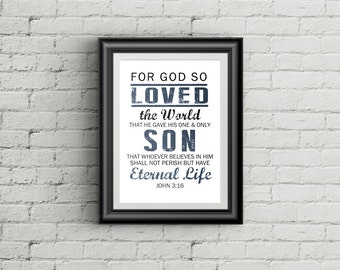 John 3:16 Print For God So Loved The World Christian Wall Art Bible Verse Art Print