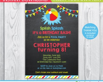 Pool Invitation / Kids Pool Party Invitation / Pool Party Invitation / kids pool / Pool birthday / Pool Printable / Instant Download