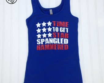 Star Spangled Hammered Fun Summer Drinking Tanktop - July 4th, Memorial Day, Labor Day