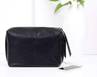 Black Leather Purse Organizer Insert - Handmade Leather Bag Organizer