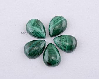 Green Malachite Loose Gemstone Cabochon Pear 12x16 AAA Grade - 5 Pcs.