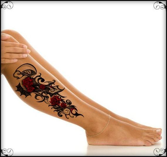Temporary tattoo roses ultra thin realistic waterproof fake for Realistic temporary tattoos