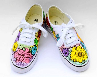 Pastel Vans Flowers Shoes Painted Summmer Sneakers Wedding Vans Shoes Womans Canvas Shoes  Gift for her Custom Vans or Other Brand