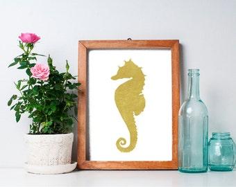 75% OFF SALE - Seahorse Print - 8x10 Seahorse Art, Ocean Animals, Beach Art Print, Gold Print, Nautical Art Print, Ocean Art