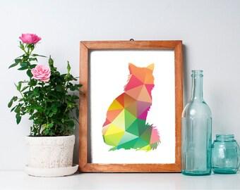 75% OFF SALE - 8x10 Geometric Print, Cat Art Print