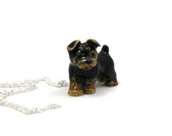 Yorkie Necklace, Charm Necklace, Charm Jewelry, Yorkie Pendant, Yorkie Jewelry, Yorkie Charm, Jewelry Gift, Ceramic Yorkie, Dog Necklace