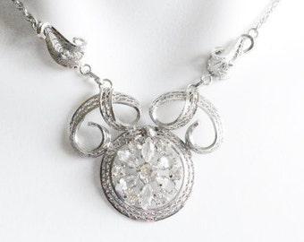 Vintage Sterling Silver Ann Lee Rhinestone Floral Filigree Necklace