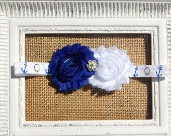 Nautical headband, blue and white headband, nautical baby