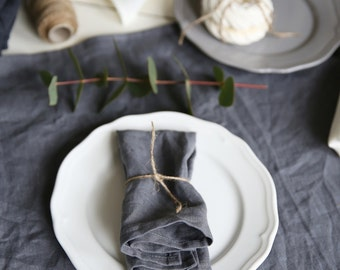 The set of 4 washed handmade linen napkins in Grey