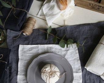 The set of 4 washed handmade soft linen napkins.