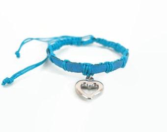 SALE!!! Hemp bracelet - leather bracelet - macrame bracelet - heart bracelet - blue friendship bracelet - braided cord bracelet