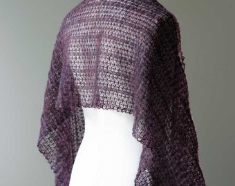 Knitted silk and mohair summer lace shawl, stole wrap in colour dark eggplant purple hand dyed yarn OOAK