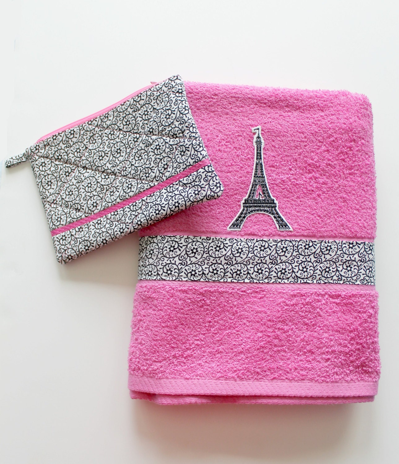 Pink Paris Bath Towel And Travel Bag Set By Scifistitches