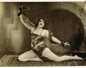 Rare Snake Charmer Circus Lady Posing in Wild Glamour Pose Sexy Pin Up Original 1920s Art Deco Photo Postcard Collectable