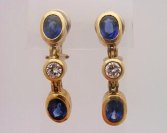4.00 Carat T.W. Blue Sapphire & Round Cut Diamond Certified Earrings 14K Yellow Gold