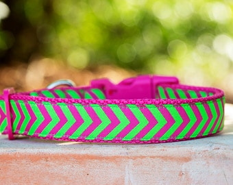 Pink Dog Collar / Stripes / Chevron Dog Collar
