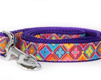 Purple Dog Leash / Flowers Dog Lead / Australian Made