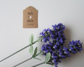 Wedding Favor Tags | Personalized Favor Tags | Shower Gift Tags | Bride & Groom's Names and Wedding Date | Sets of 25 Tags