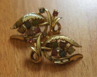 Jewelry Vintage Earrings Gold  Clip On  Vintage earrings, Coro earrings, signed Coron, vintage jewelry, CZ, Rhinestone Y-049