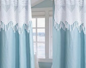"Blue  Spa Organic Heavy Linen with white cotton hand crochet valance curtains panels drapes each 52"" wide (sold as pair)"