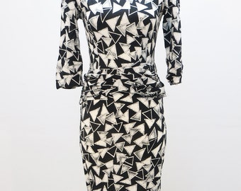 80's Geometric Wiggle Dress with Peplum XS / SMALL