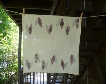 Purple Pods- Block Printed Tea Towel