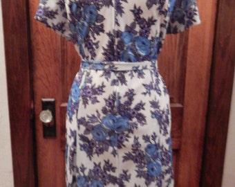 Blue floral 1940's-50's dress