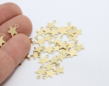 50 Pcs Mini Star Charms ,Findings , 4x7mm Charms Charms , Tiny Raw Brass Findings , FNL51