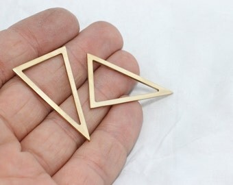 20 Pcs Raw Brass Triangle Pendant 24x38mm, Geometric , Chevron , zigzag pendant , KV , SOM56