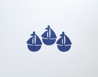 """Navy Blue Sailboat Die Cuts - 1-4"""" Inch Diecut Choose Your Color/Colors Nautical Sail Boat Scrapbooking Children Nursery Toy Stationery Card"""