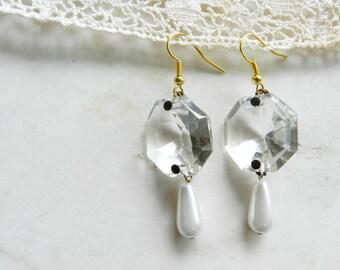 Handmade Vintage Crystal Chandelier and Pearl Dangle Earrings