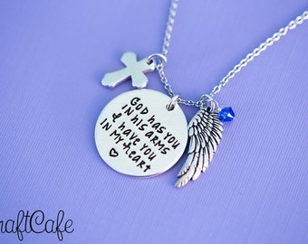 """Hand Stamped """"God has You in His Arms, I Have You in my Heart"""" Pendant - Hand Stamped Jewelry"""