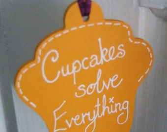 Golden Wooden Hanging Cupcake Tag ~ Cupcakes Solve Everything