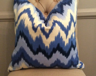 SALE! Handmade Decorative Pillow Cover - Waverly - Borderline Blueberry - Navy
