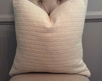 Handmade Decorative Pillow Cover - Cable Knit - Beige - Neutral