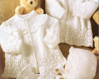 7b9f90947556 knit baby jacket bonnet and mitts christening outfit instant ...