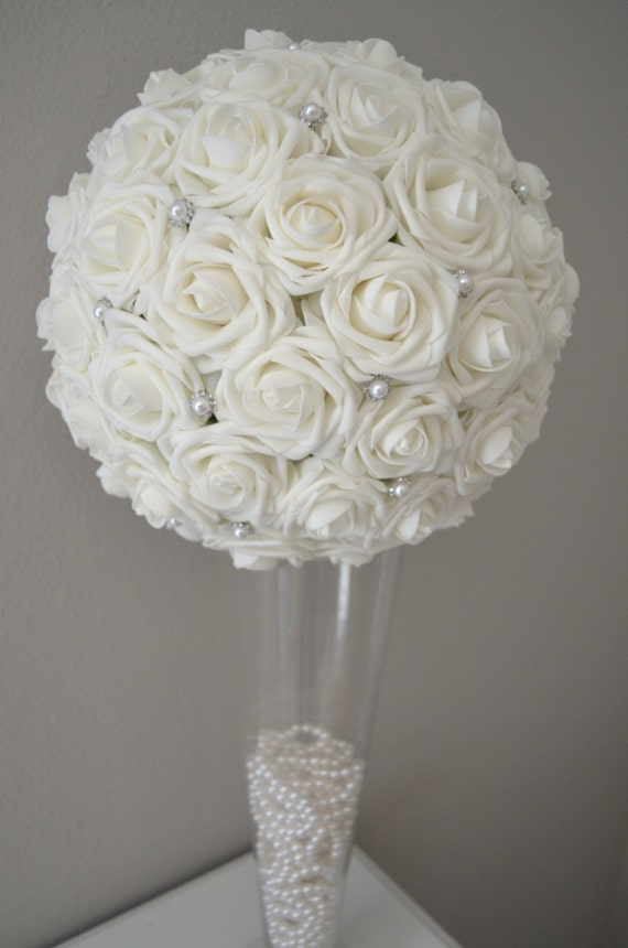 White flower ball with brooch premium real touch by