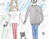 Digital Custom Badly Drawn Portraits - Funny Doodle Illustration of People You Know for their Birthday, Marriage, Valentine's, Christmas