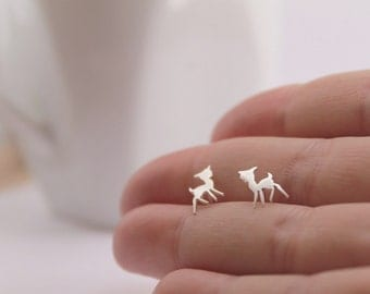 Baby Deer Studs // Fawn Earrings Handmade Sterling Silver Woodland Theme