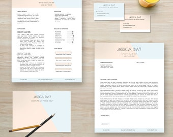 "Resume Template Package | CV Template + Cover Letter + Business Card + Thank You Note for MS Word | Instant Digital Download | The ""Jessica"""