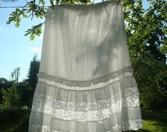 Vintage White Cotton Skirt; Adult Petticoat; Large Size Boho Skirt; White Rustic Wedding Skirt; Cotton and Nylon Lace Gorgeous Petticoat