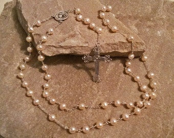 Rosary. Sterling Silver Rosary. Natural Pearl Rosary. Pearl Rosary. Sterling Silver Cross