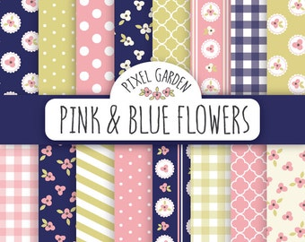 Shabby Floral Digital Paper Pack. Cottage Chic Scrapbooking Paper. Navy Flowers Printable Paper Set in Pink, Navy Blue.